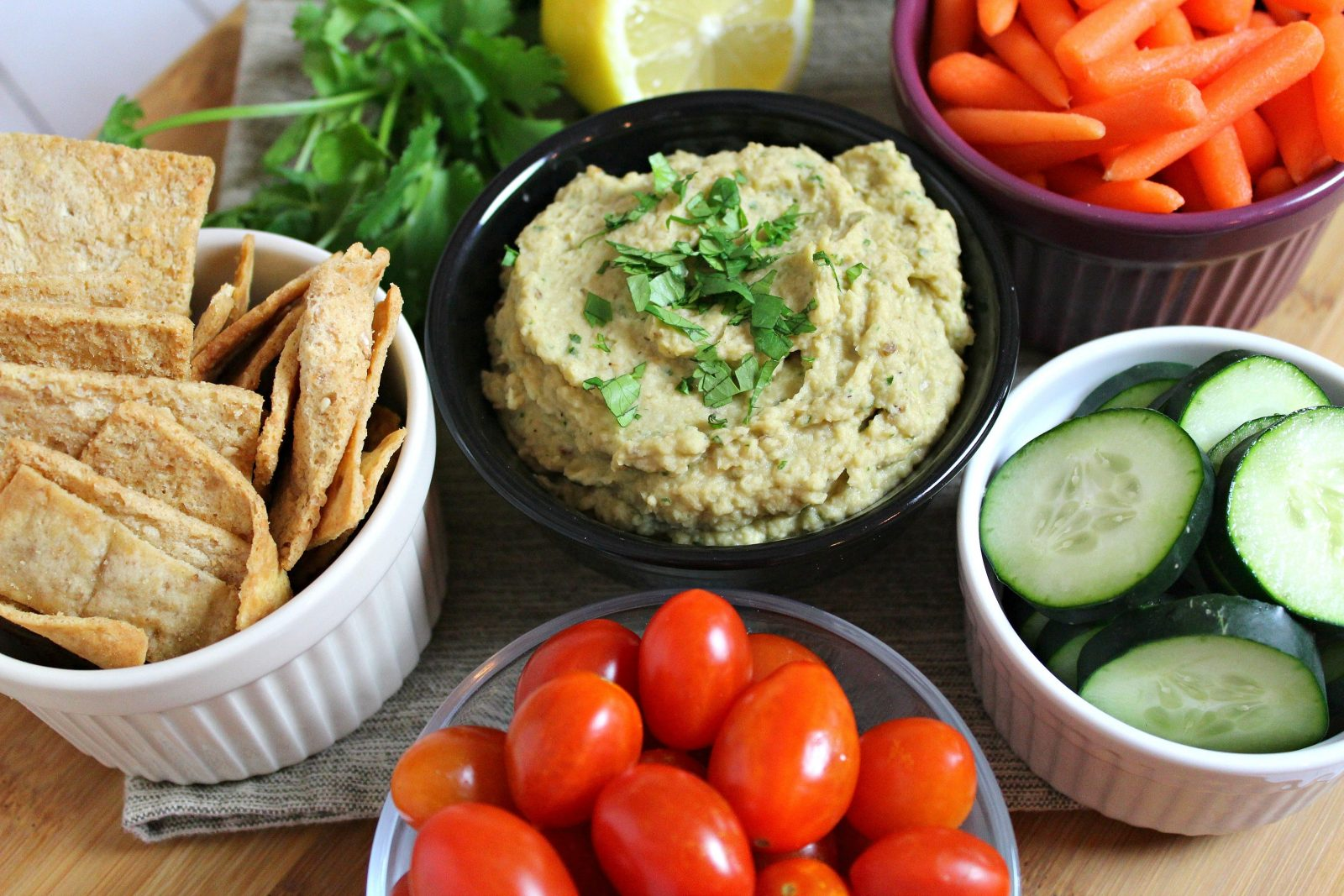 köz patlıcanlı humus