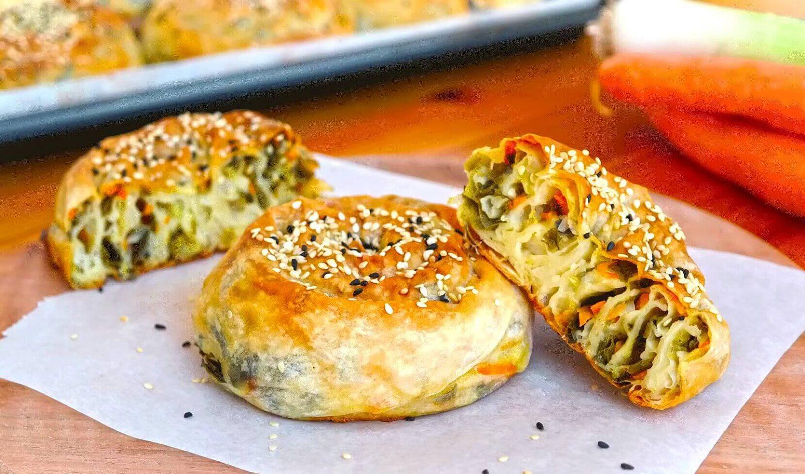 yeşil mercimekli pırasalı börek